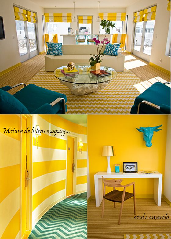 decor amarelo e azul  hotel lords south beach miami