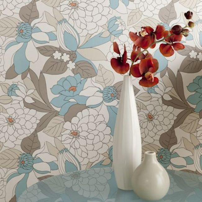 Showstoppers wallpaper, Miranda design by Clarke & Clarke.  Available in 6 colours.  Wallpapershop.com.au