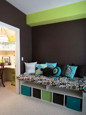 Playroom storage.  Love the colors.