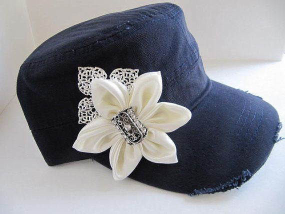 Cadet Hat Navy Blue Distressed Hat Womens Hat by GoldenDreamFinds, $20.00