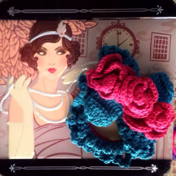 red rose crochet scrunchies