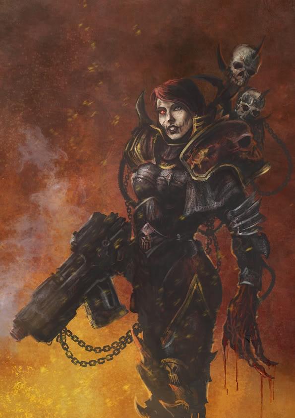 Character: Miriael Sabathiel || Media: Warhammer 40K game || Design Info: Chaos sister. It is good.