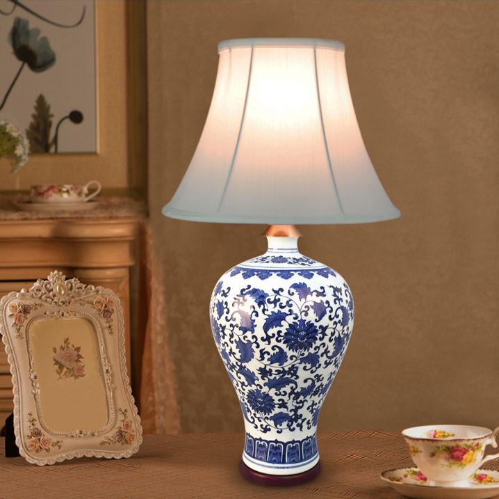 Chinese hand-painted ceramic Table Lamps classic modern white cloth shade E27 LED lamp for table