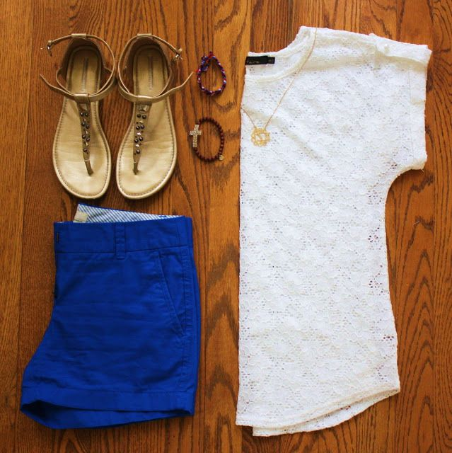 lace shirt, monogram necklace, cobalt blue shorts