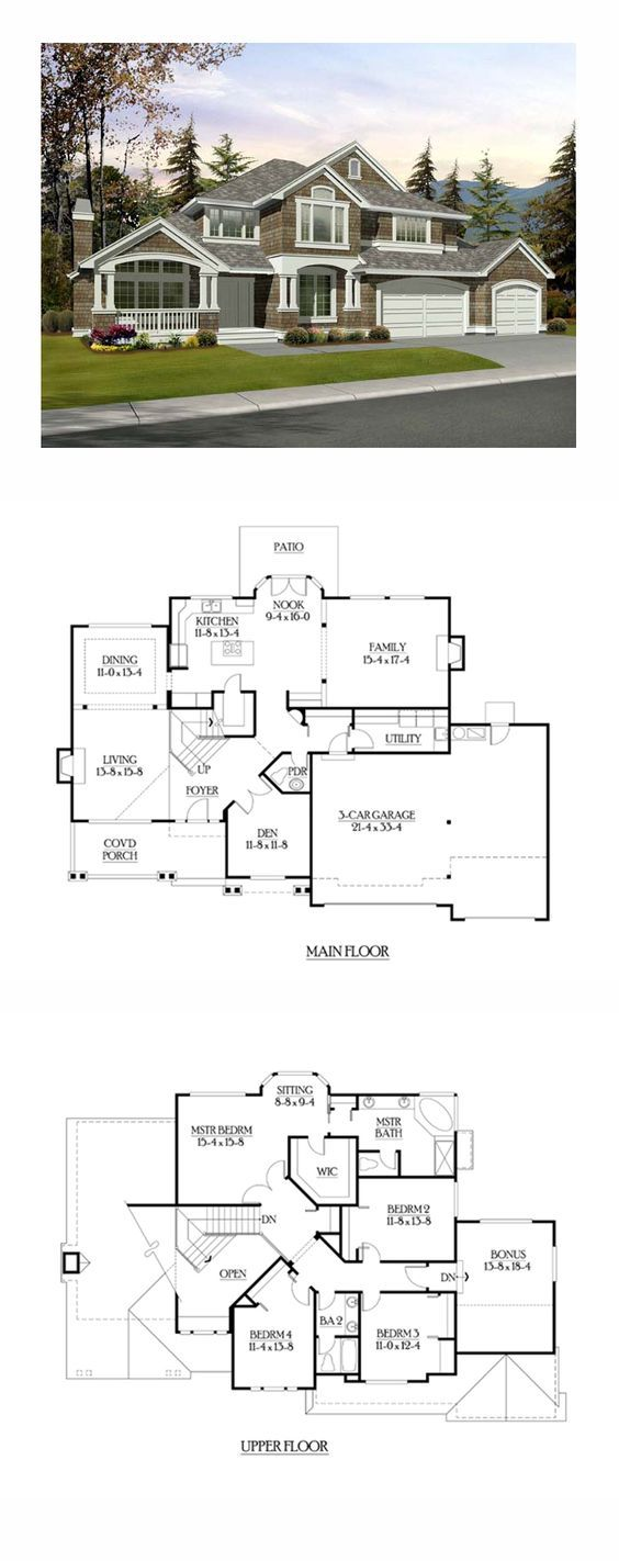 Shingle style cool house plan id chp 39803 total living for Cool house plans garage