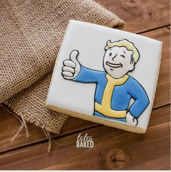 "Rachel Totanes on Instagram: ""Worldwide release for the much anticipated #Fallout4 drops at midnight tonight! Expected to be one of the best selling games, so naturally my boyfriend requested cookies. He says, thank you @bethesdasoftworks @fallout_game. And now I can focus on my winter orders... #fallout4 #videogames #itsacookie"""