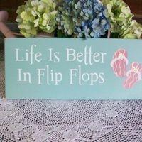 Beach Wood Flip flop Sign