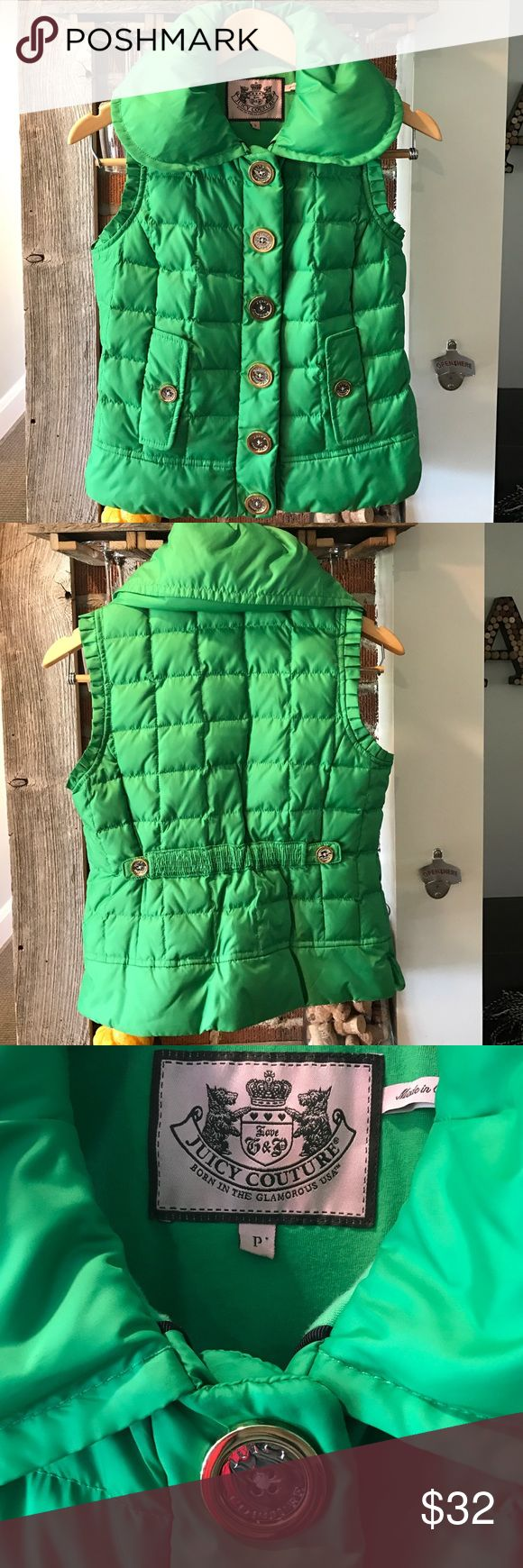 "Juicy Couture vest Cute juicy couture puffer vest great condition, only worn for a few st Patrick's parades! The size tag says ""P"" which is an xs in juicy couture sizing Juicy Couture Jackets & Coats Vests"