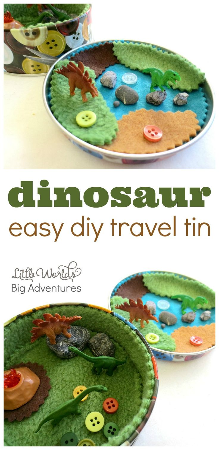How to Make a Mini Dinosaur Travel Tin | Little Worlds Big Adventures - more at megacutie.co.uk