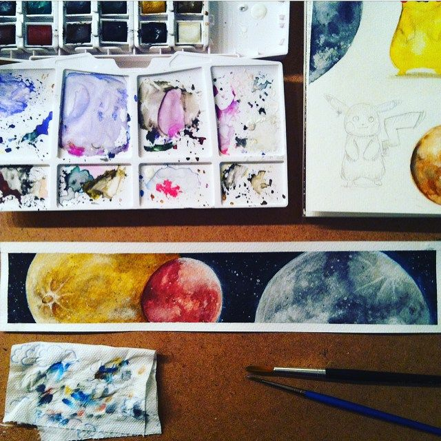 Provocative planet pics my first for My first watercolor painting