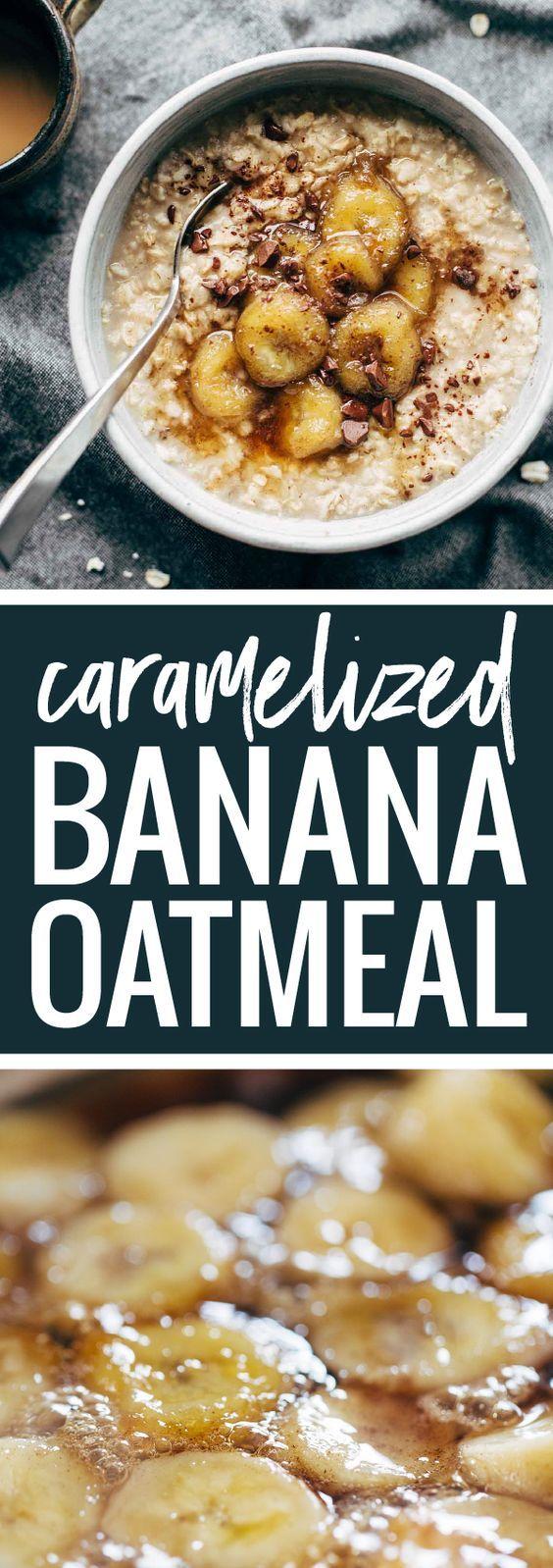 Caramelized Banana Oatmeal! Creamy oatmeal with bananas in a maple syrup/coconut oil glaze. No refined sugar! | pinchofyum.com