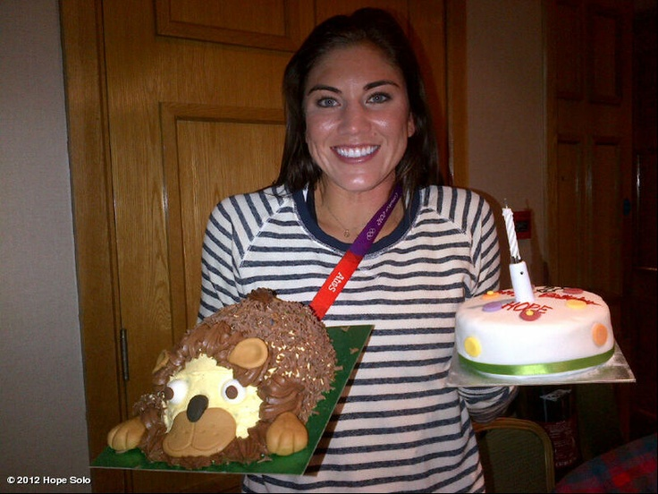 """""""Hope Solo's photo: 2 cakes! My teammates spoil me! Dont miss the lion! Leo's are fierce! Watch out! Hear my roar ;) i love you guys! Thanks for a great day!"""" Hope Solo - US Woman's Soccer Team Goalie - July 30"""