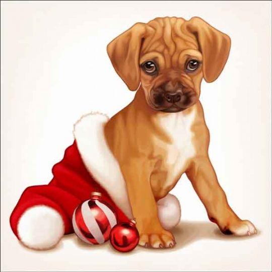 Cazenave Holiday Puppy Art Ceramic Accent & Decor Tile - MC2-008eAT