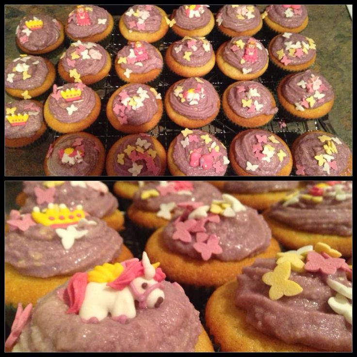 Vanilla cupcakes & vanilla buttercream (dyed purple) topped with these princess cupcake toppers from coles!