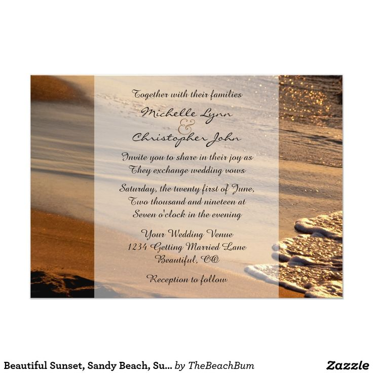 Beautiful Sunset Sandy Beach Surf Wedding Invite