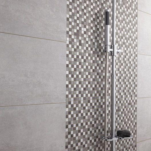 Mosa que urban life gris noir cm bande verticale for Salle de bain bois et mosaique