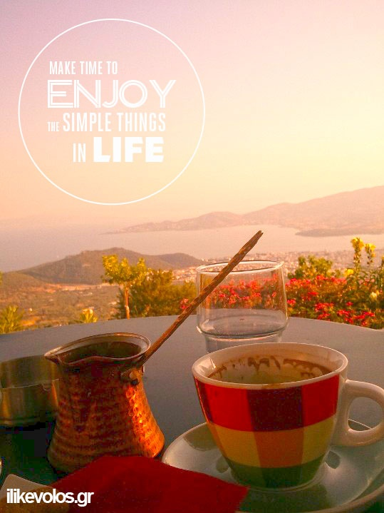 enjoy your coffee with the view of Volos