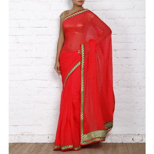 Red Chiffon Saree with Zari Border