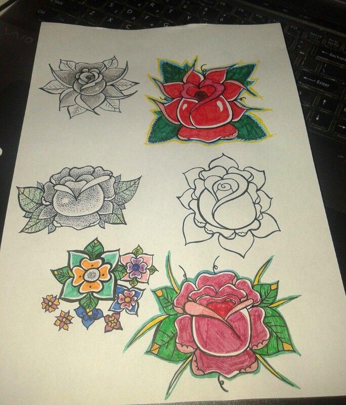 Old school flowers. My design. Tattoo idea.