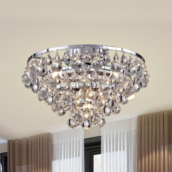 Tranquil Crystal Bubble And Chrome Flush Mount Chandelier Ping The