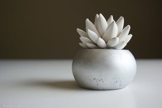 White Succulent Sculpture in Modern Round by WaterstoneSucculents, $25.00