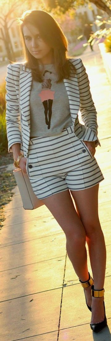 Zara Black And White Spring Nautical Striped Suit by La By Diana Live Magazine