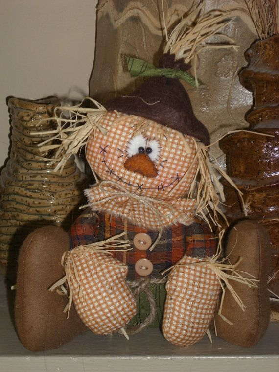 Primitive Raggedy SCARECROW BOY Halloween DOLL Shelf Sitter Whimsical Vintage