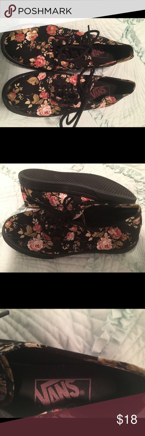 Floral new vans tennis shoes 5 1/2 size Vans brand never worn new ladies 5 1/2 floral tennis shoes totally cute and comfy Vans Shoes Sneakers