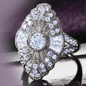 Stauer Astoria Art Deco DiamondAura Ring
