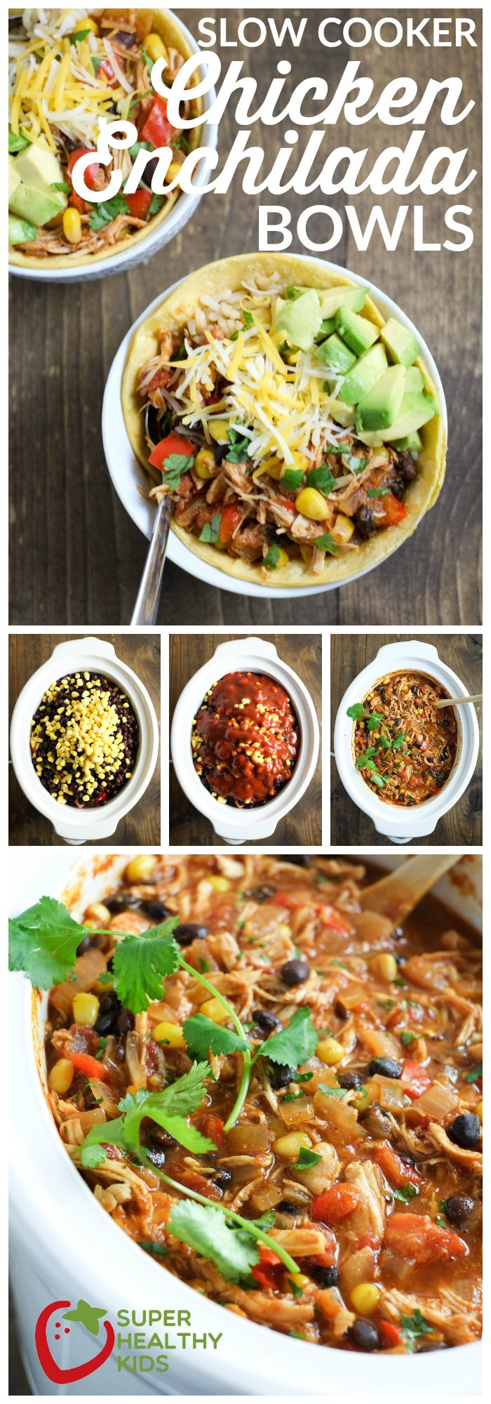 FOOD - Slow Cooker Chicken Enchilada Bowls | Super Healthy Kids | Food and Drink http://www.superhealthykids.com/slow-cooker-chic…ada-bowls-recipe/