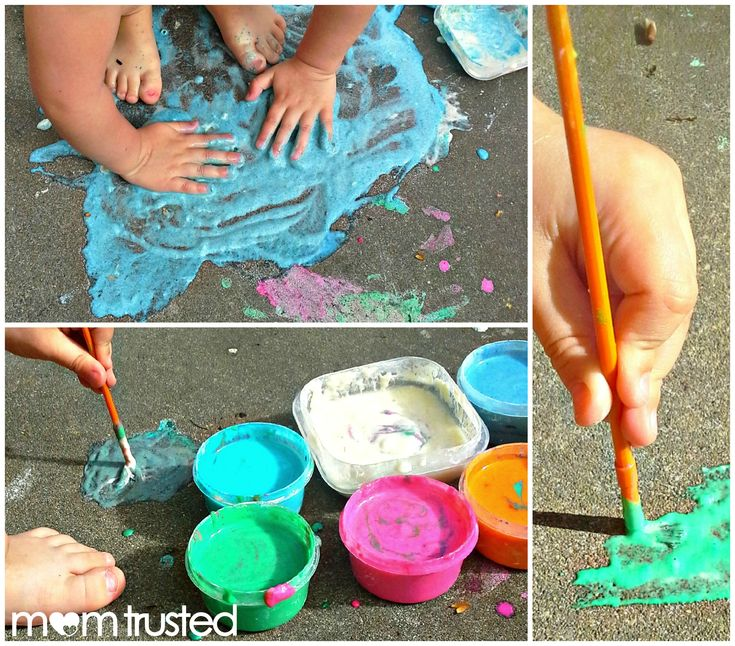Sidewalk paint made from flour, water, food coloring