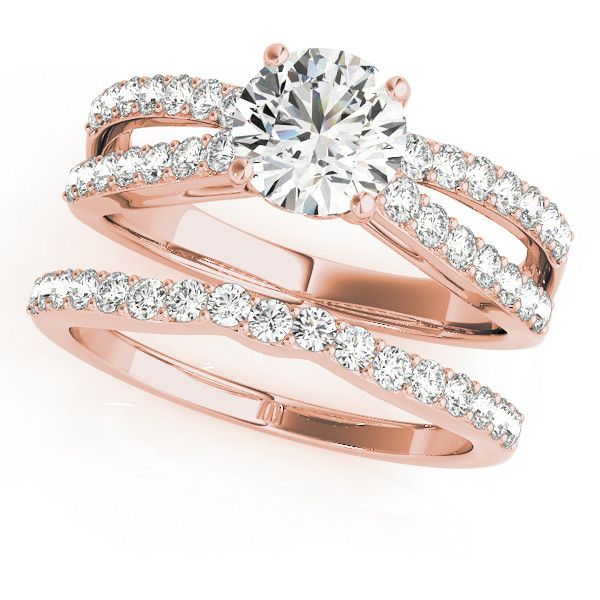 Engagement Ring -Split Band Diamond Bridal Set with Floral Prongs in... ($1,940) ❤ liked on Polyvore featuring jewelry, rings, rose gold band ring, engagement rings, bridal rings, diamond engagement rings and round engagement rings