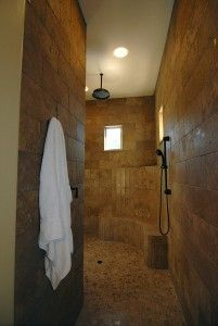 Walk In Shower - No doors to clean! Plus I NEED a shower hose head like that