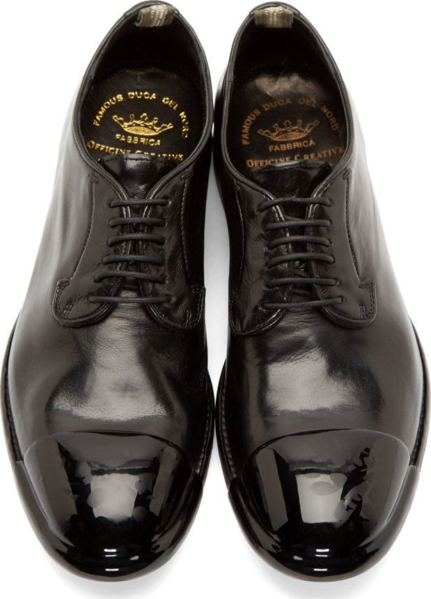 Officine Creative Black Coated Toe Derbys