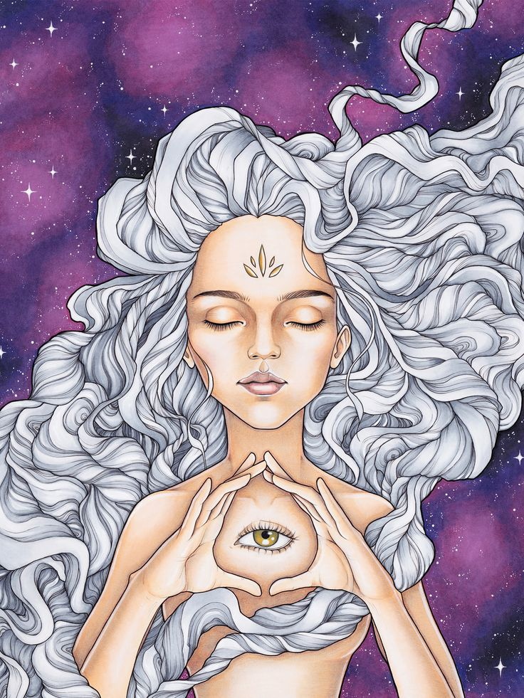 Marker art by Durianaddict. Spiritual third eye awakening with trippy hair and galaxy background. Psychedelic art.