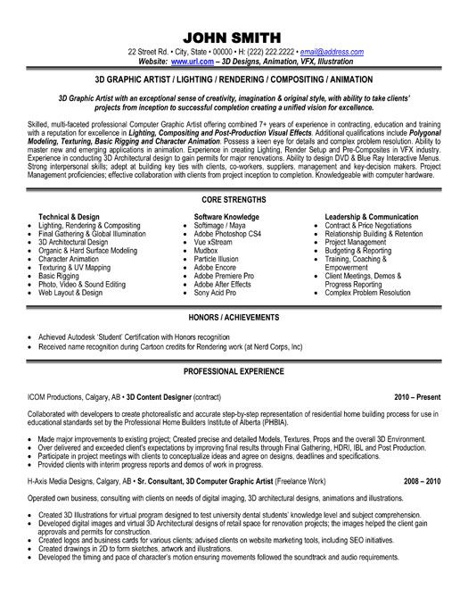 resume examples for graphic artist