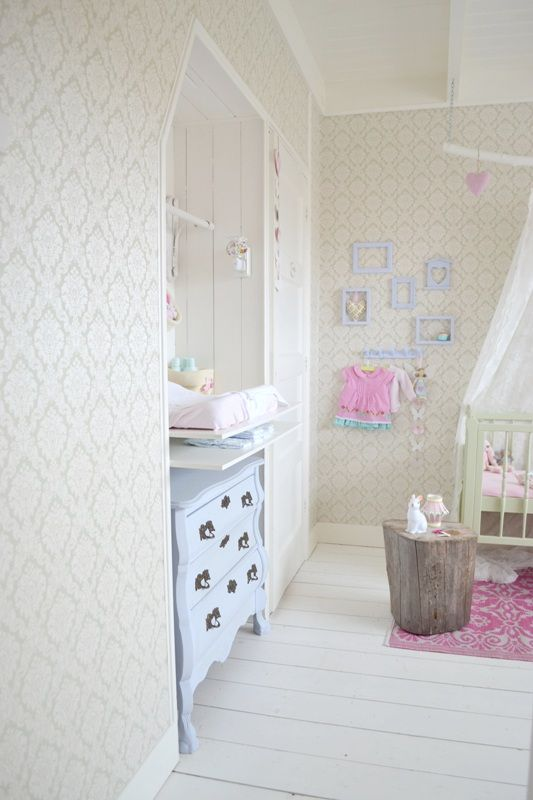 FRIVOLE nursery ❥ #pastels #wallpaper #white floor #tree trunk #green #dresser