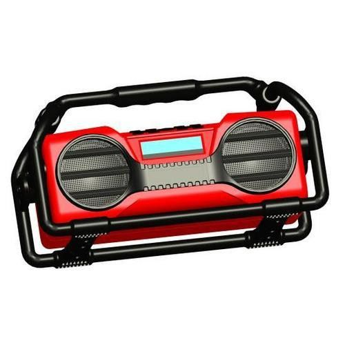 Industrial Boom Box Splash Proof Heavy Duty Bluetooth Boom Box Speaker, Rugged & Portable Job-Site Wireless Sound System, USB/SD/MP3/FM Radio (Red)