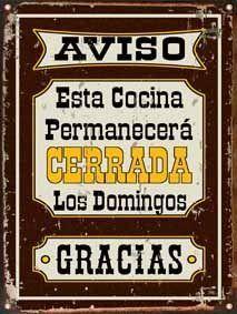 Cartel De Chapa Cocina Cerrada L302 - $ 190,00