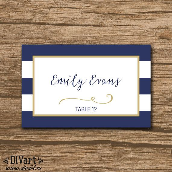 Nautical Place Cards, Escort Cards, Food Labels - PRINTABLE file - Nautical Wedding, navy and gold or any colors - Keira