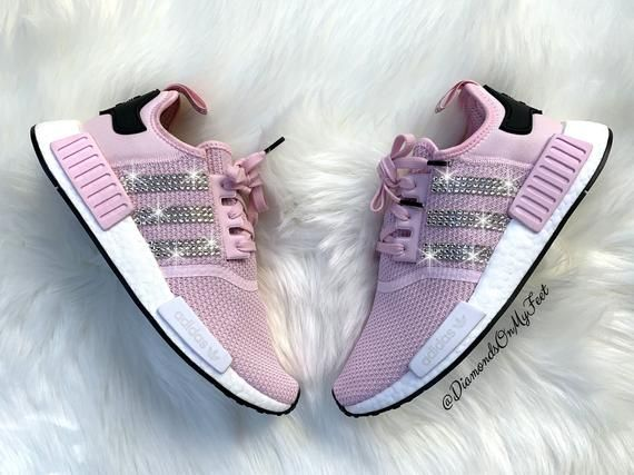 Swarovski Womens Adidas Originals Nmd R1 Light Pink Sneakers