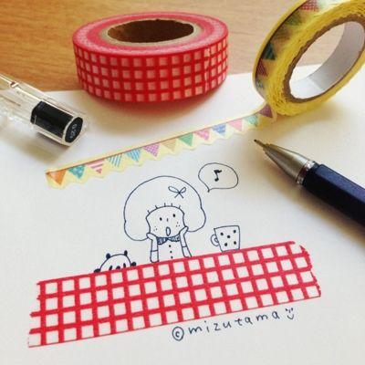 マスキングテープ+お絵描き♪ - 消しゴムはんこ mizutama