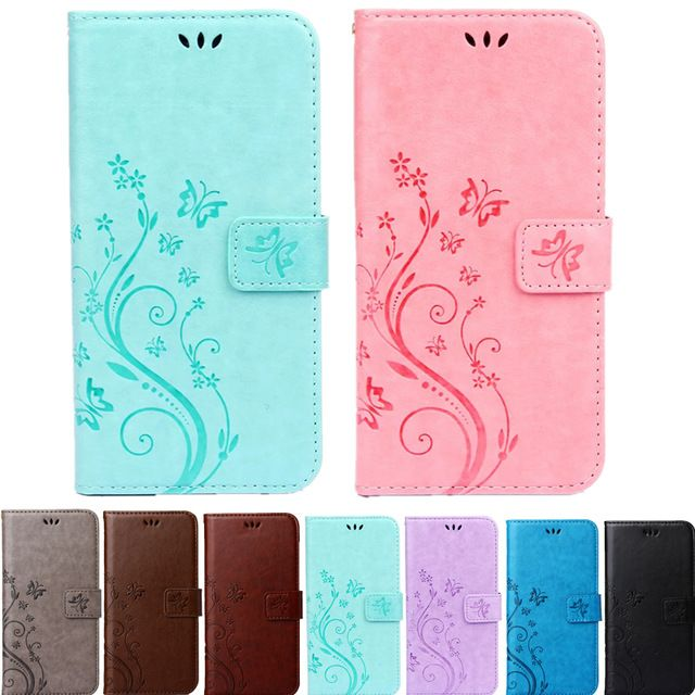 Print Butterfly Fly Flower Leather Flip Book Wallet Cell Phone Case Soft Cover for Apple iphone 4 4s 5 5s SE 6 6s 7 Plus 7plus