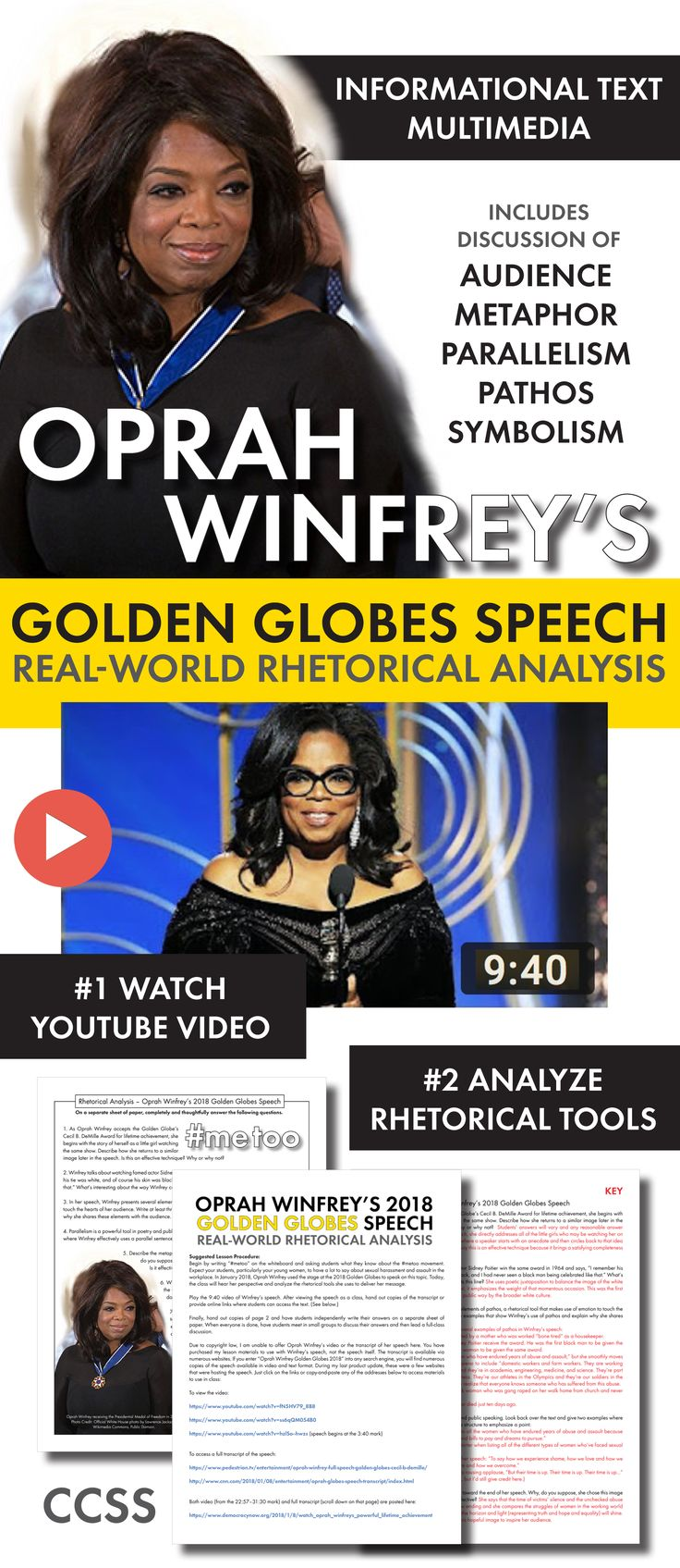 Use Oprah's Golden Globes speech as a high-interest lesson on rhetoric. Built for high school English classes.