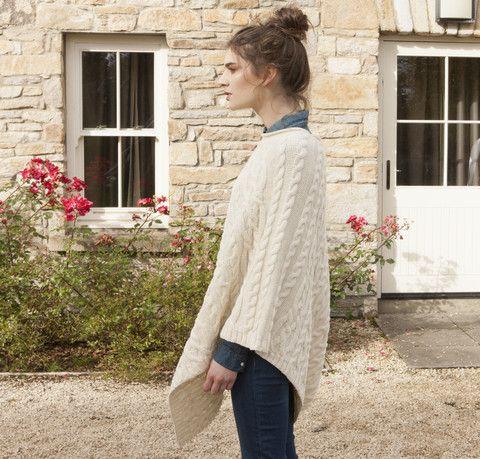 Aran Knit Poncho - Natural