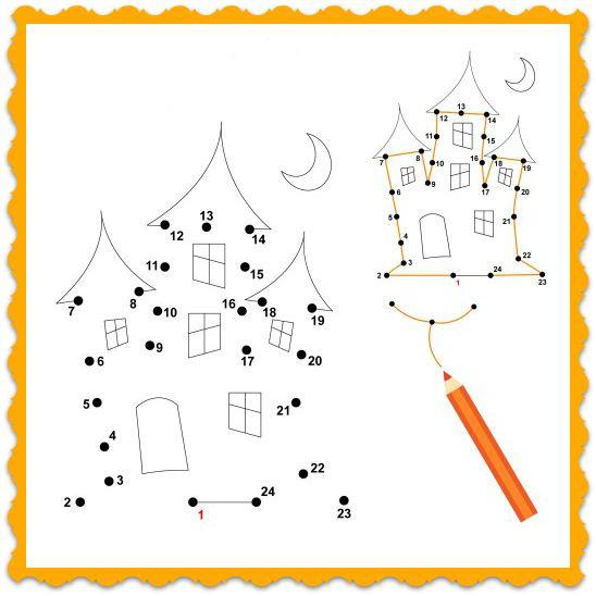 halloween printable dot to dot haunted house coloring worksheet for kids - Halloween Worksheets Preschool