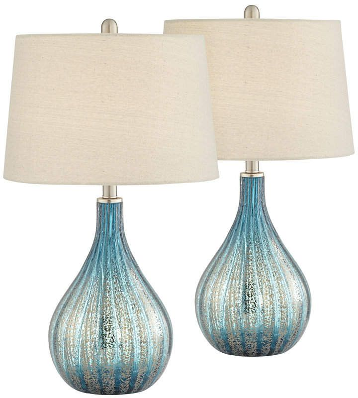 Pacific Coast Blue And Grey North Glass Table Lamps Set Of 2 Table Lamps For Bedroom Blue Glass Lamp Lamp Sets