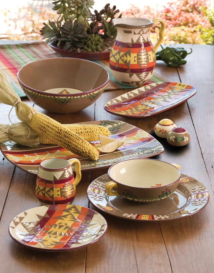 For the newlyweds, truly special dinnerware in the Pendleton Chief Joseph pattern.