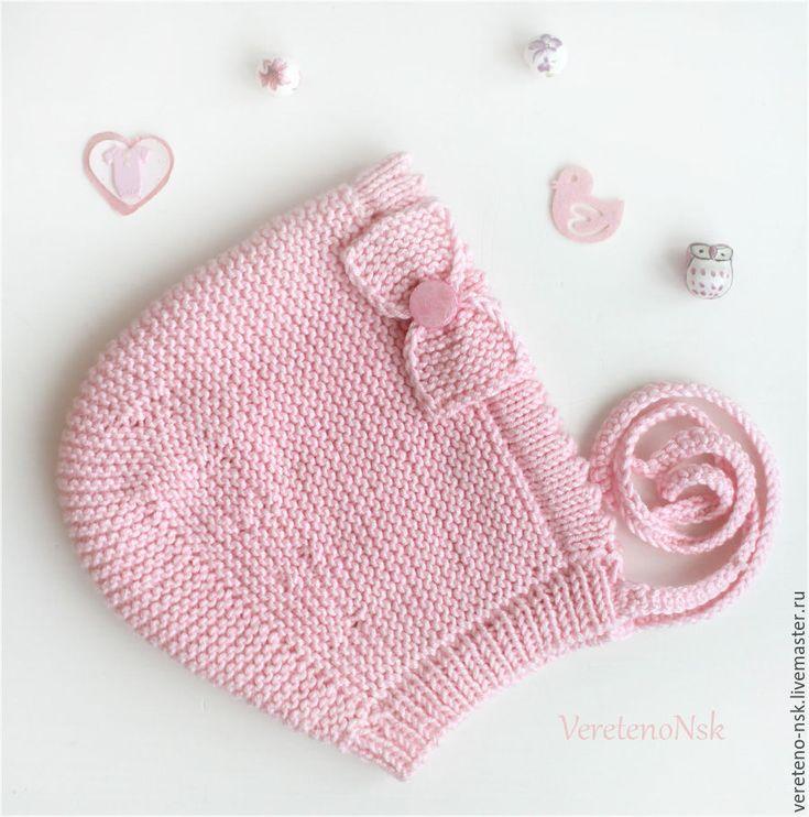 Купить Шапочка-чепчик на новорожденную малышку, мягкий хлопок - бледно-розовый, чепчик на новорожденного