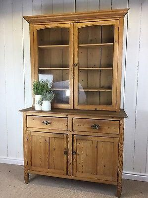 Antique Pine Solid Wood Glazed Dresser Rustic Farmhouse Storage Sideboard